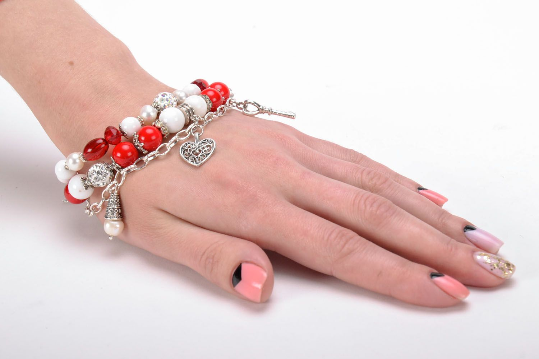 Double wrap bracelet with coral photo 5