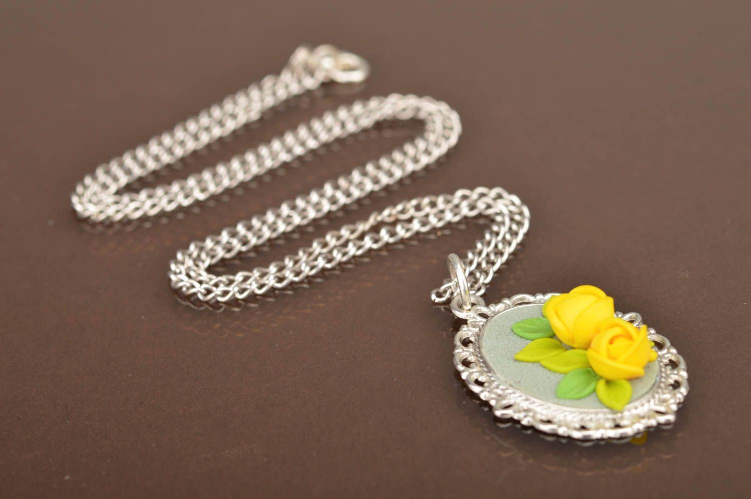 pendants Handmade vintage cameo pendant with polymer clay volume yellow rose flowers - MADEheart.com