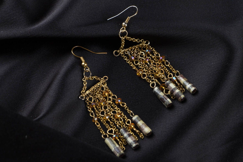 Metal earrings with beads photo 1