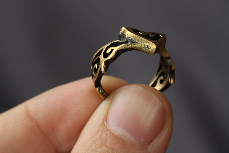 Bronze ring Heart photo 3