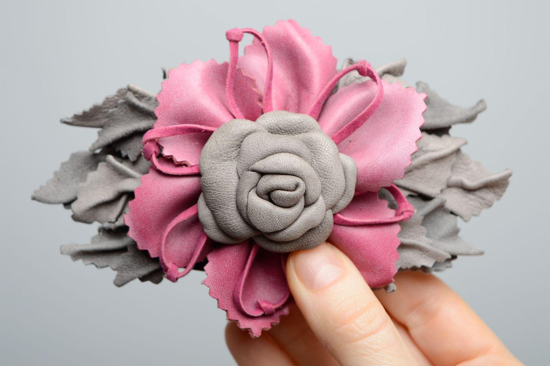 madeheart barrette faite main originale en cuir fleur. Black Bedroom Furniture Sets. Home Design Ideas