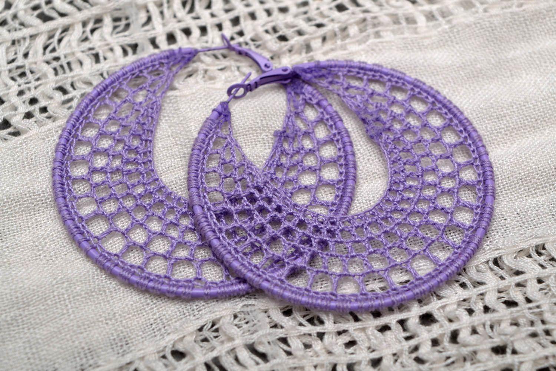 Purple crochet earrings  photo 1