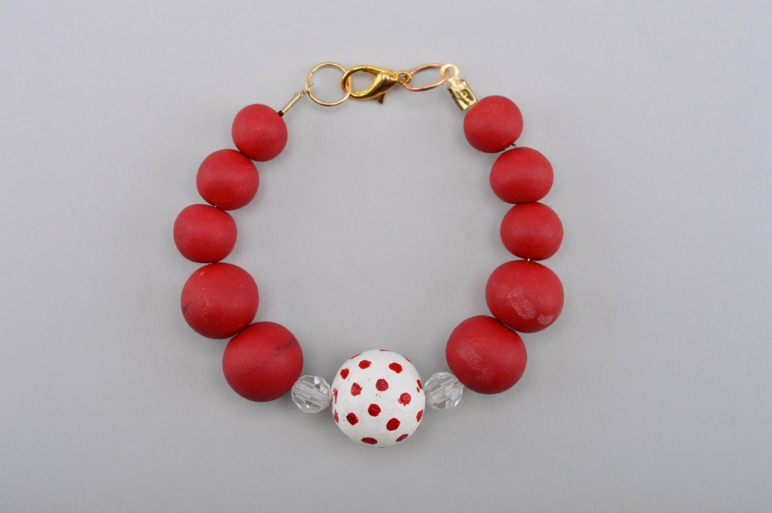 Handmade beautiful bracelet plastic red bracelet stylish wrist accessory photo 5