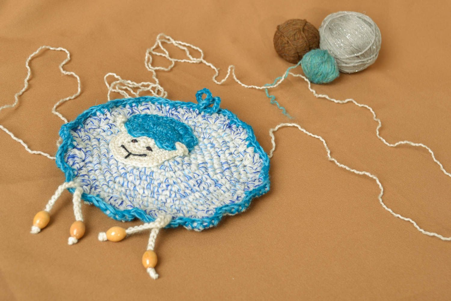 knitted toys Crochet pendant toy Sheep in Blue - MADEheart.com