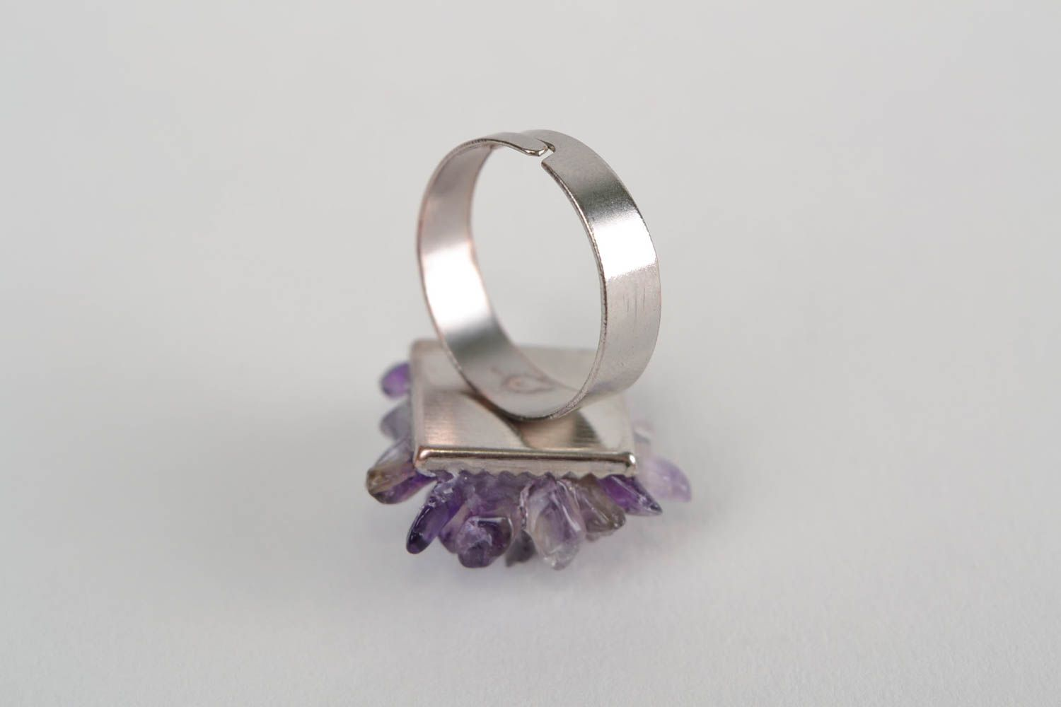 Square-shaped ring with natural stone amethyst beautiful handmade accessory photo 5