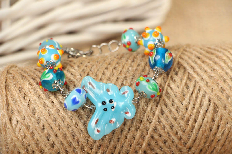 Bright children's beaded bracelet photo 4