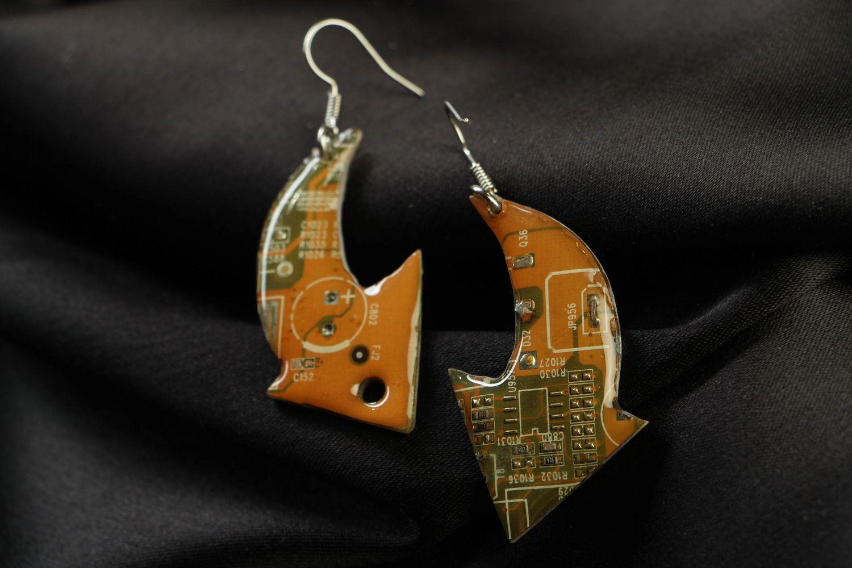 Unusual metal earrings in steampunk style Arrows photo 1
