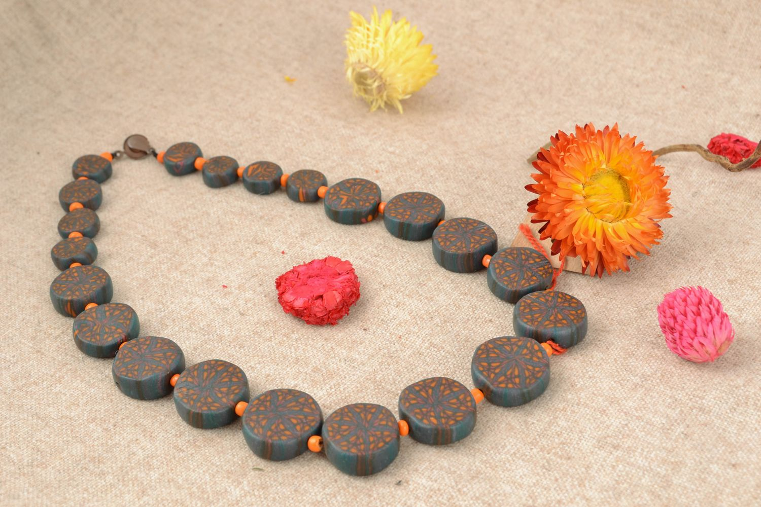 Unusual polymer clay necklace photo 1
