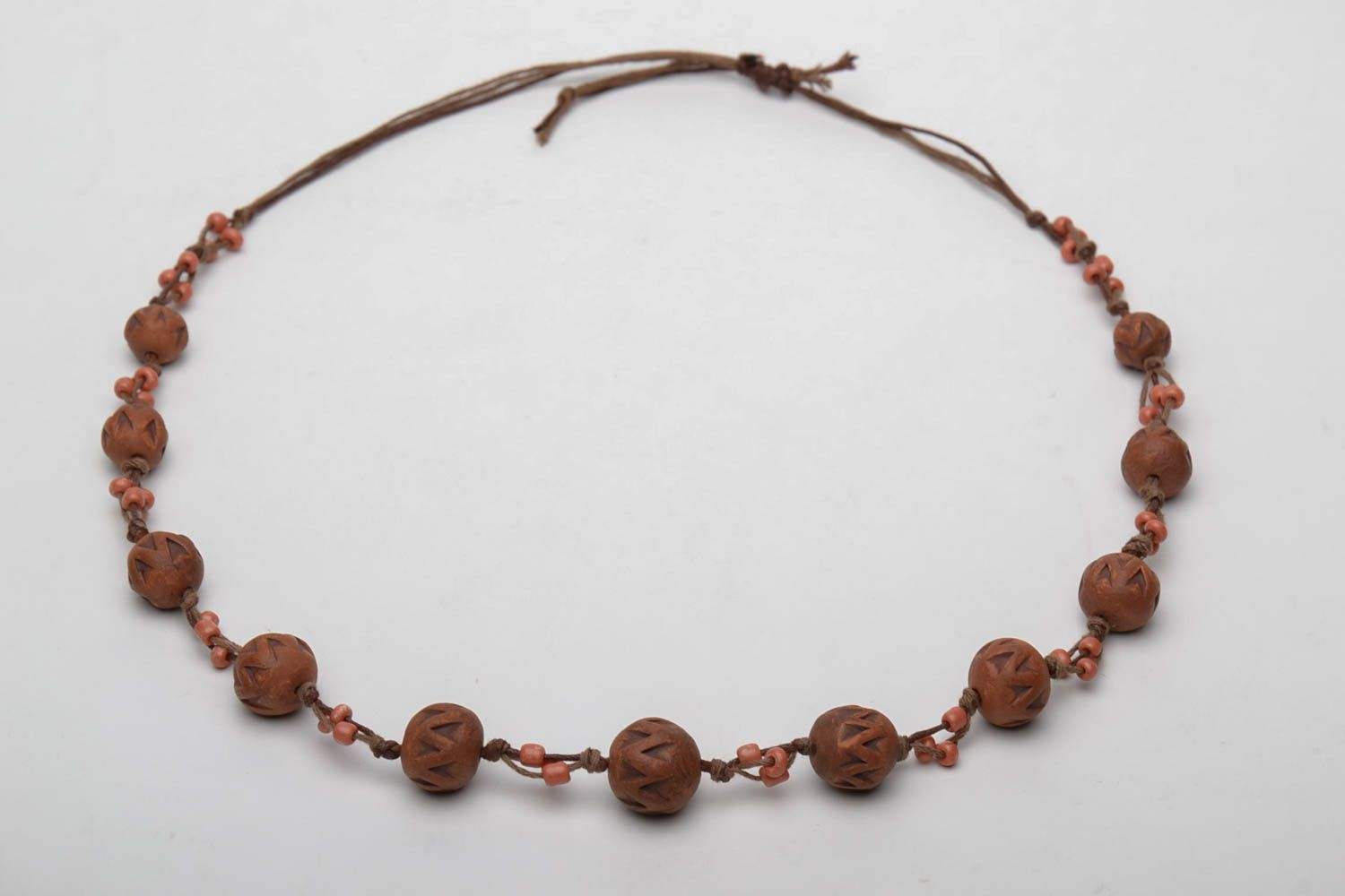Brown ceramic bead necklace photo 3