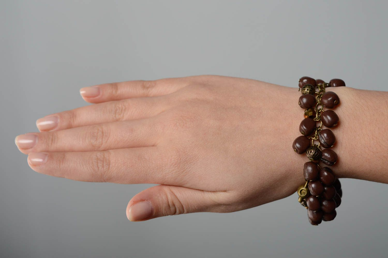 Handmade Armband aus Ton Kaffeebohnen foto 4