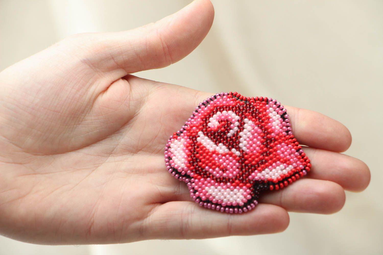 Beaded brooch Rose photo 3