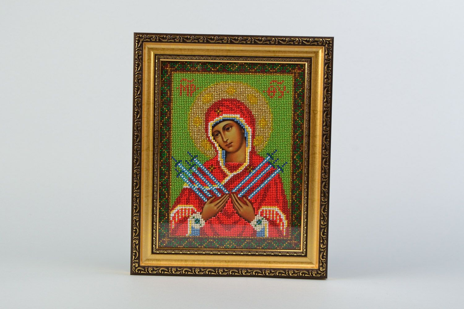 Handmade icon of the Mother of God of Ostrobram embroidered with beads in frame photo 5