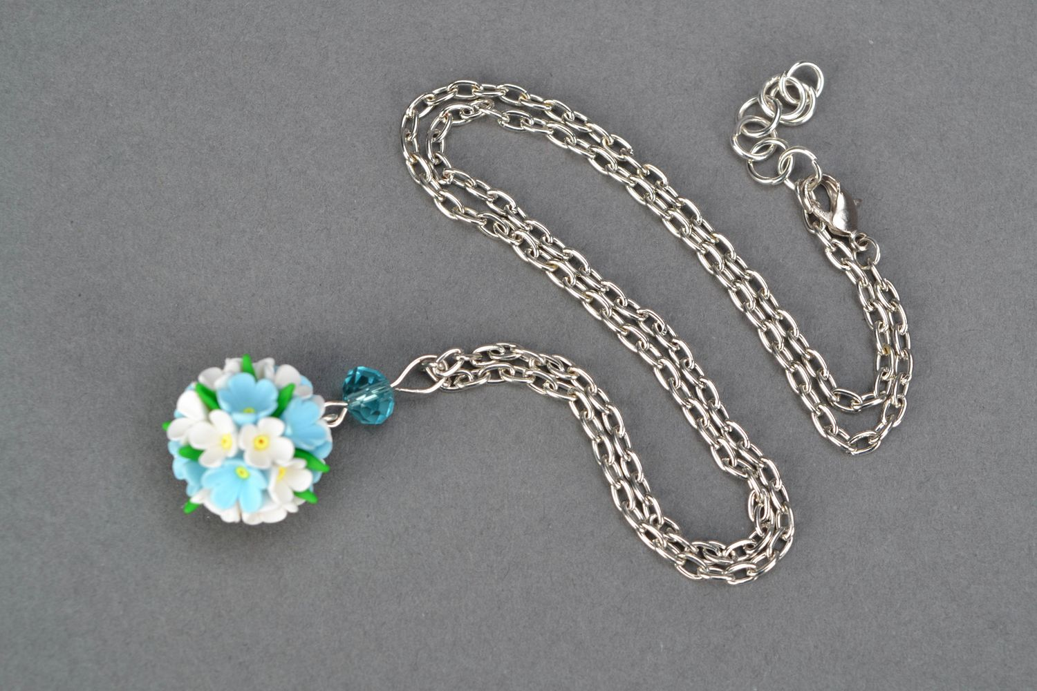 Polymer clay flower pendant and brooch photo 4