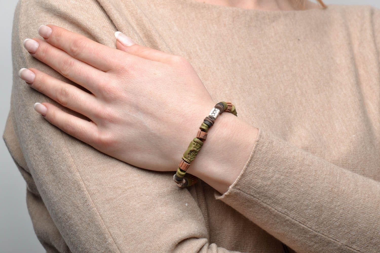 Глиняный браслет в этническом стиле фото 2