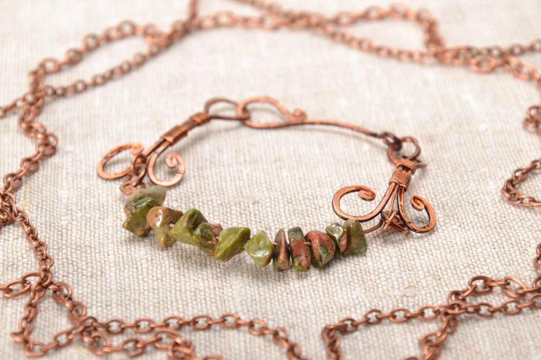 Kupfer Armband mit echtem Stein foto 1