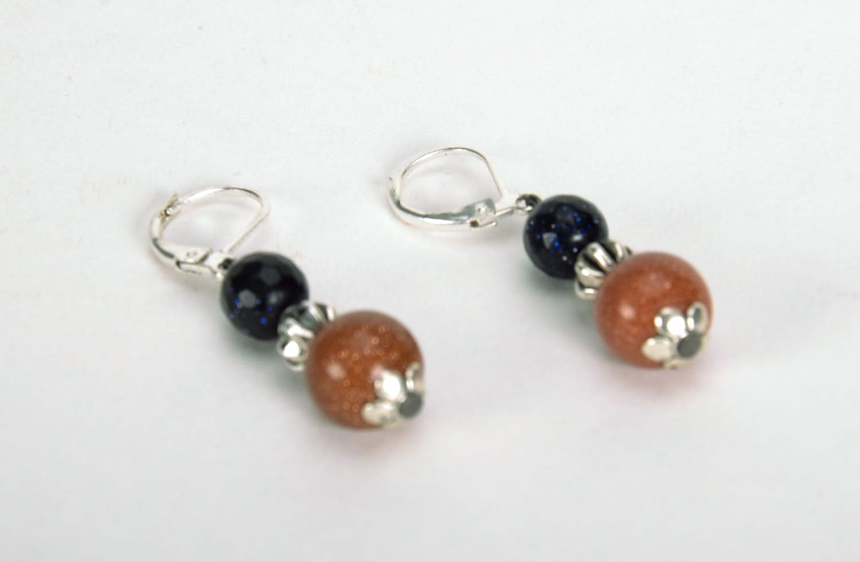 Long earrings with aventurine photo 3