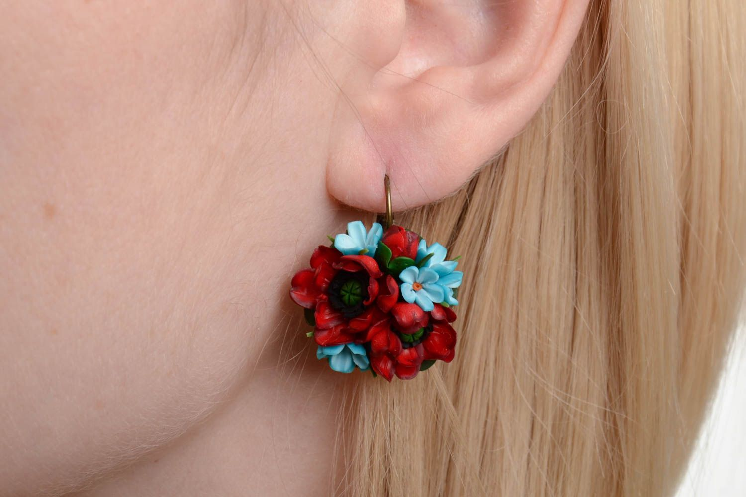 Handmade volume earrings with small red and blue polymer clay flower bouquets photo 1