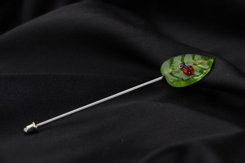 Glass brooch Leaf photo 2