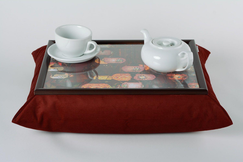 Brown handmade interior tray cushion made of velvet and acrylic fabrics photo 1