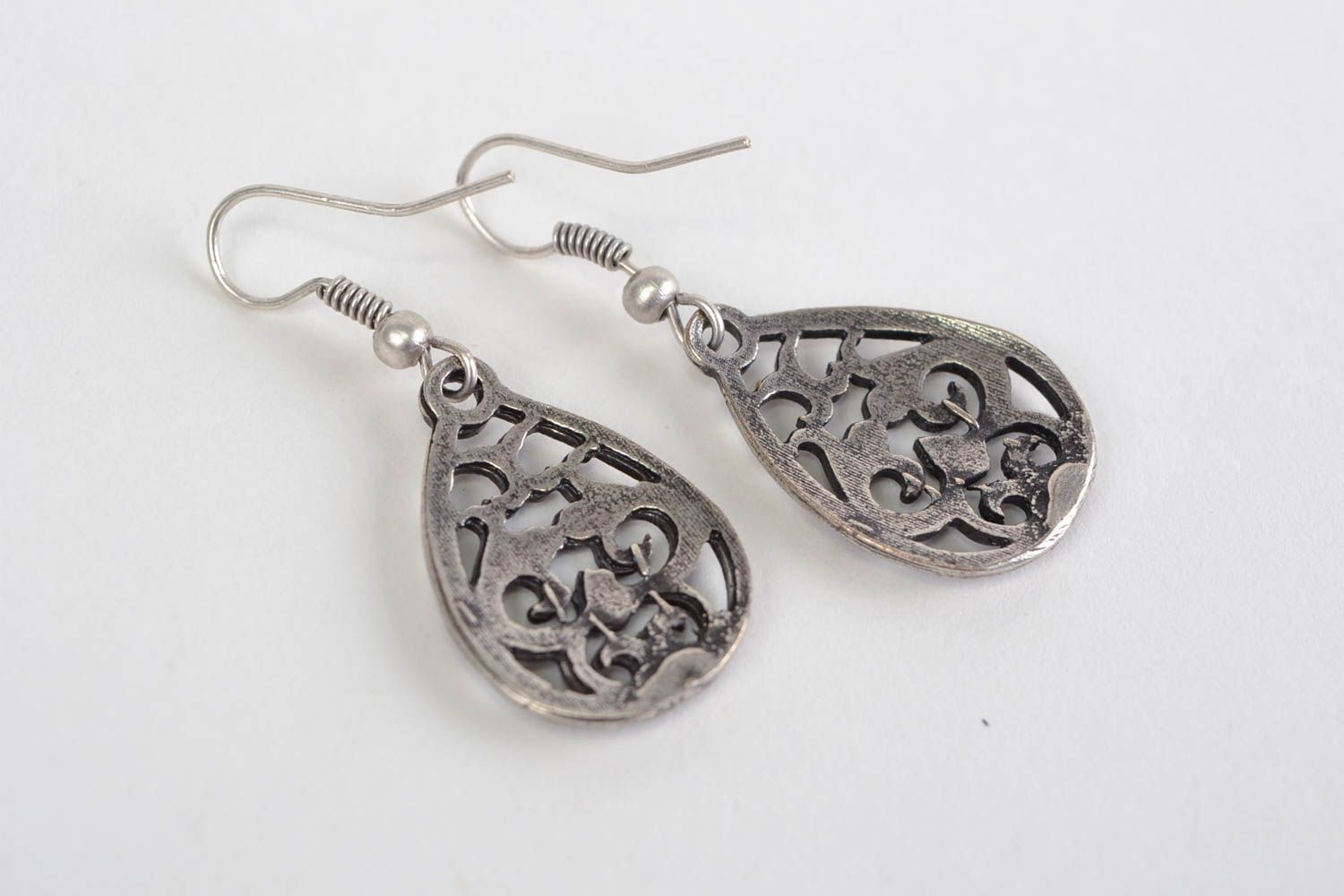 Beautiful handmade design metal lace earrings of silvery color photo 4