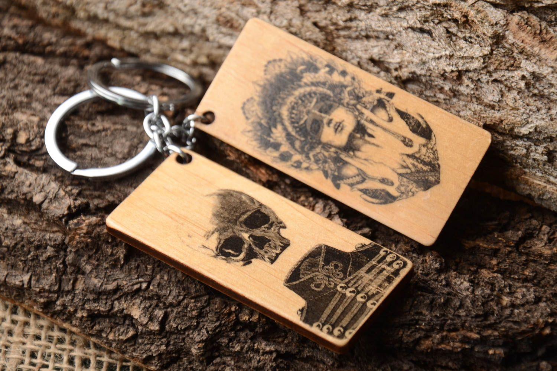 breloques Porte-clé en bois Porte-clef fait main 2 pcs rectangulaires  Cadeau original b5b820f9293