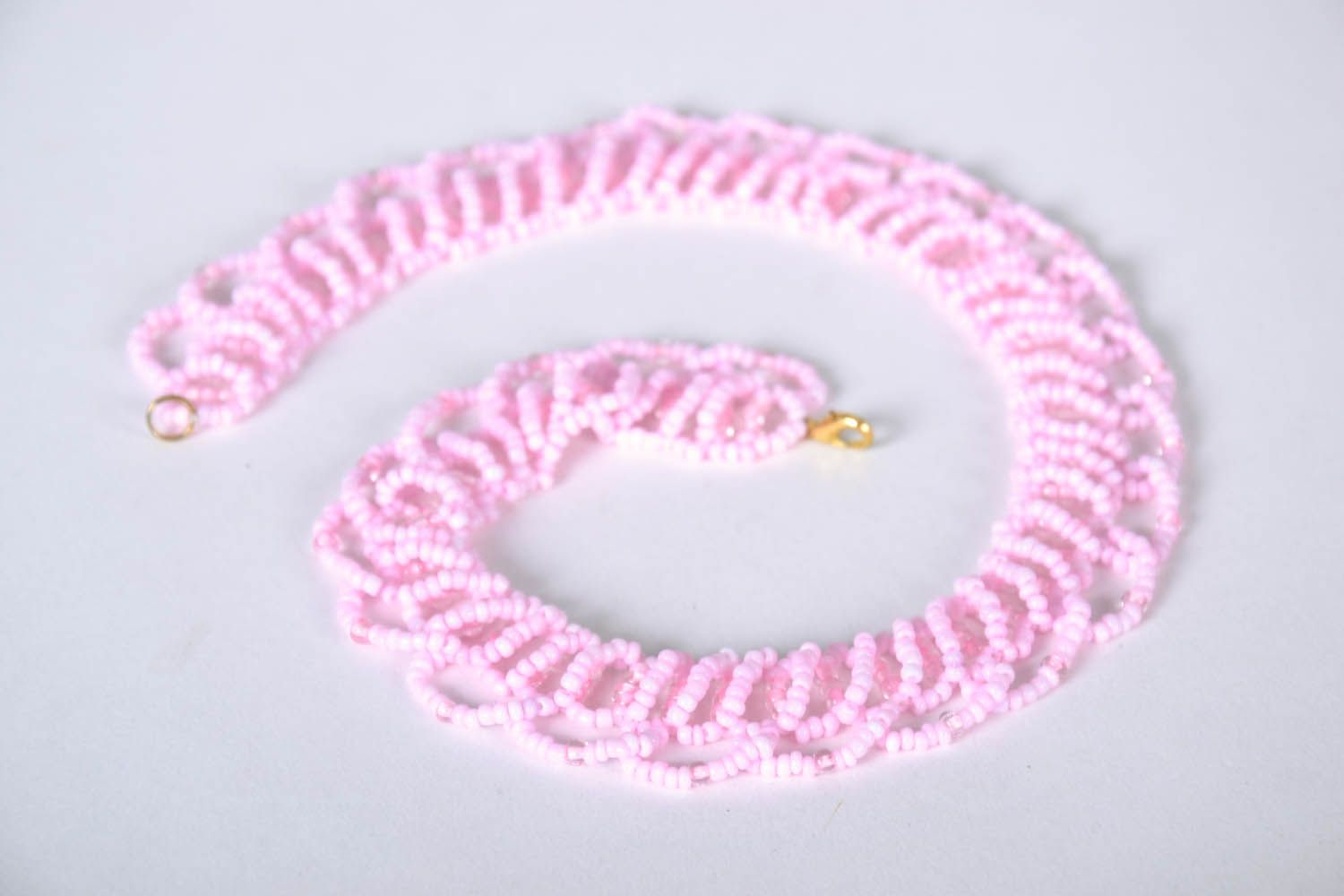 Beaded necklace Marshmallow photo 3