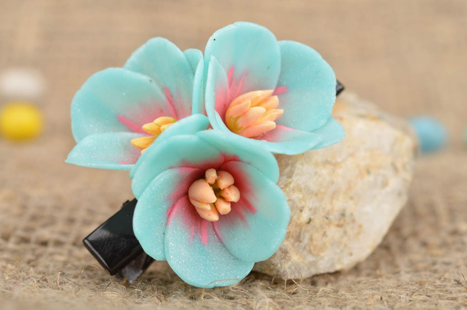 hair clips Beautiful blue small handmade polymer clay flower barrette - MADEheart.com