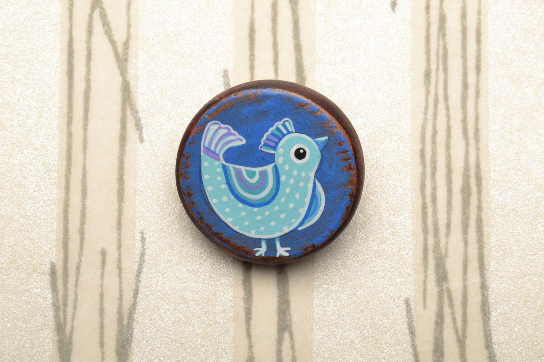Round wooden brooch photo 1