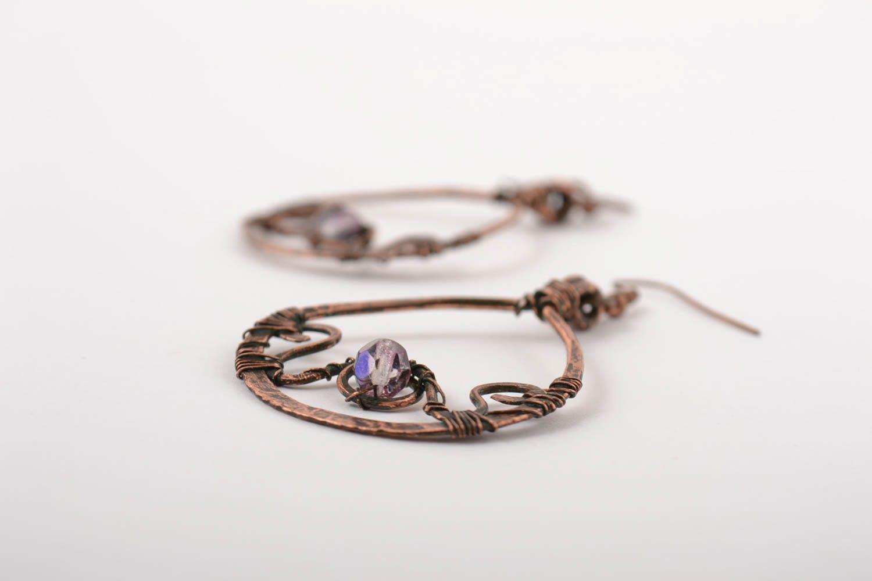 Handmade earrings copper accessory gift ideas unusual earrings for girl photo 2