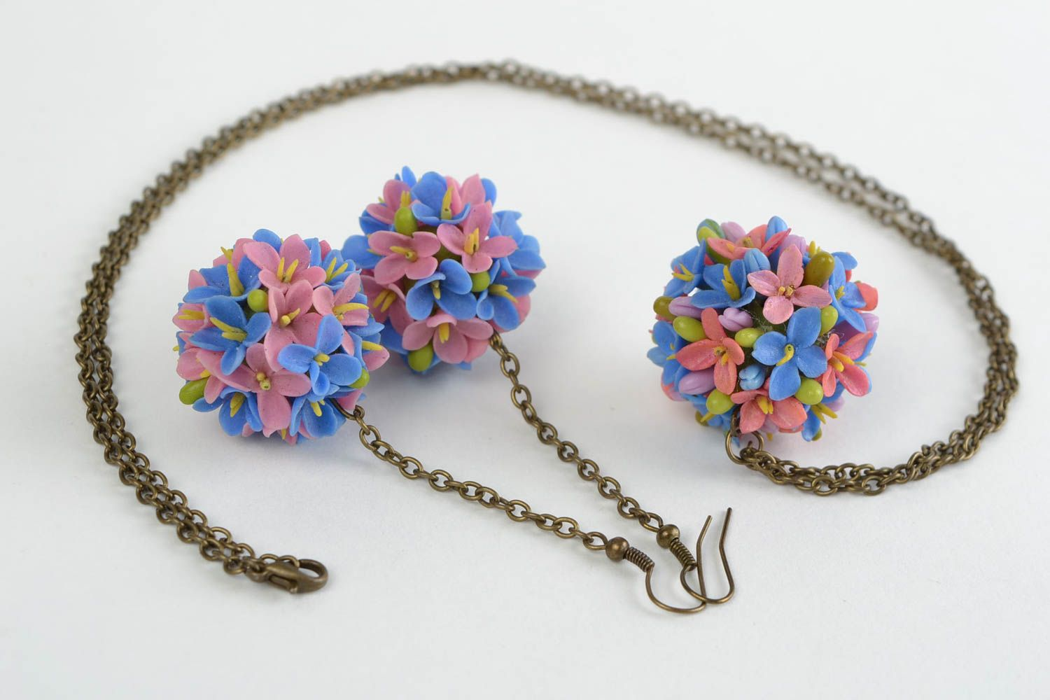 Beautiful design handmade cold porcelain jewelry set flower earrings and pendant photo 2