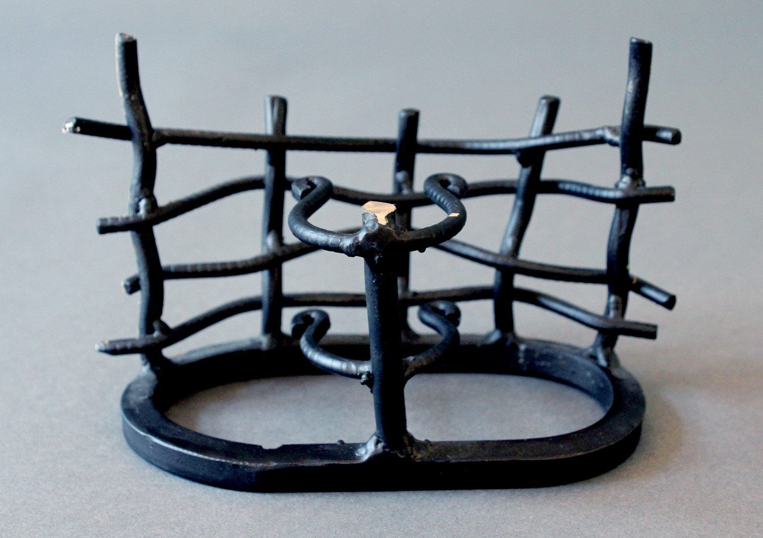 Decorative forged stand with ceramic jar photo 2