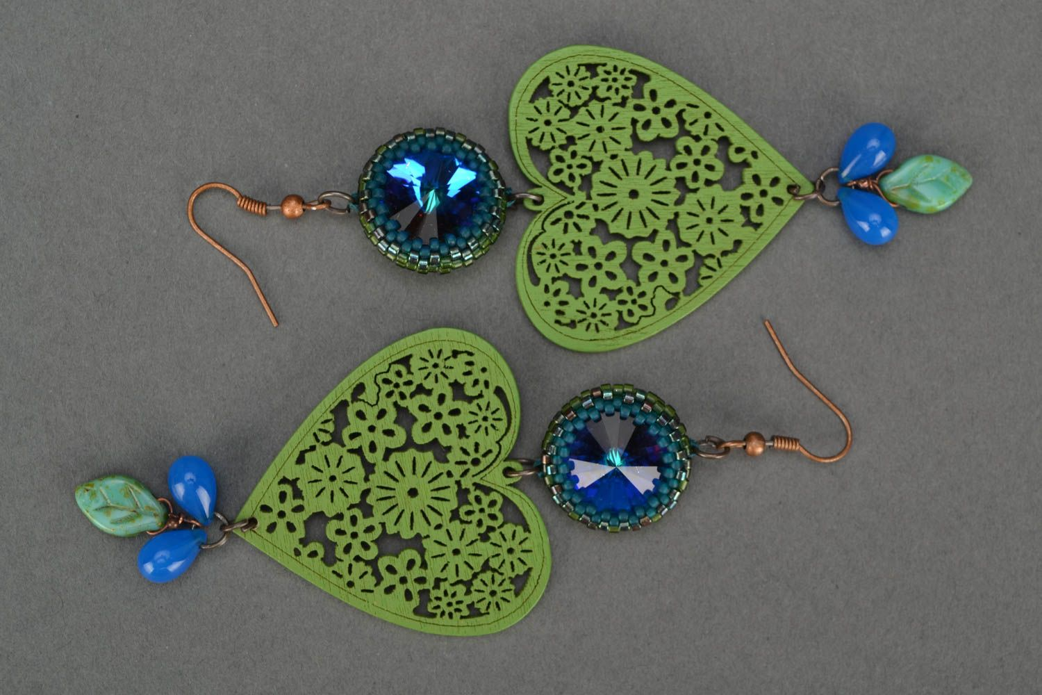 Handmade long designer earrings with wooden green hearts and Czech glass photo 2