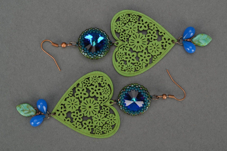Grüne künstlerische Holz Ohrringe mit Glas handmade Schmuck für Frauen foto 2
