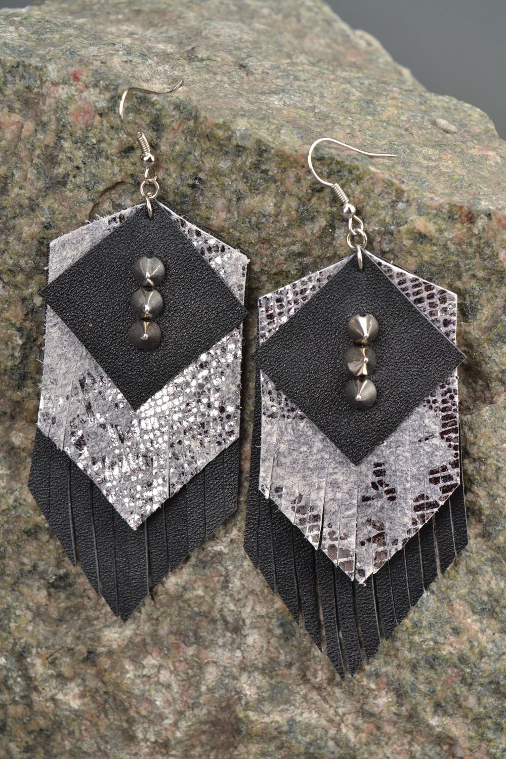 Leather earrings with studs  photo 5