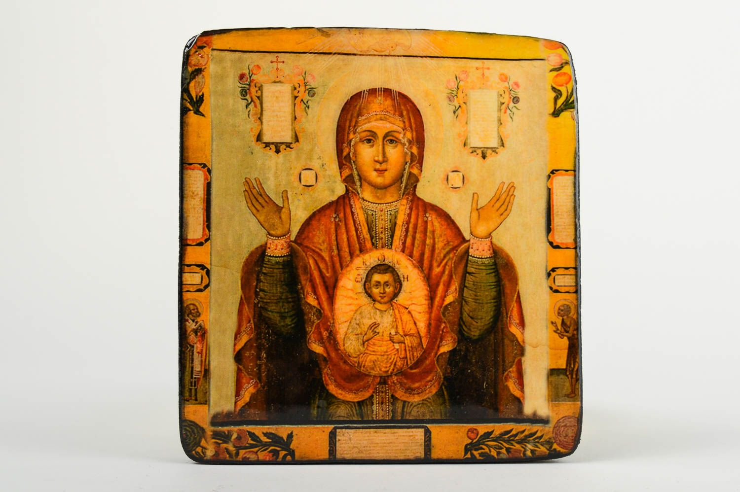 carved Handmade icon wooden icon of Mother of God designer icon orthodox icon - MADEheart.com