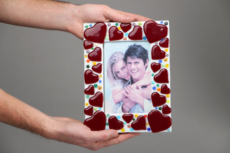 Fused glass photo frame Hearts photo 4