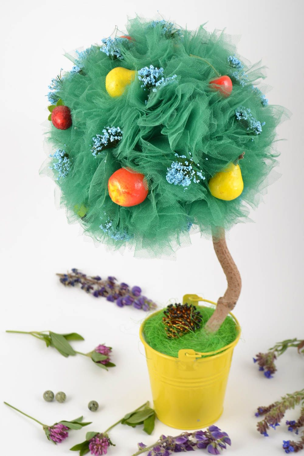Topiary made of tulle with decorative fruits handmade tree of happiness photo 1