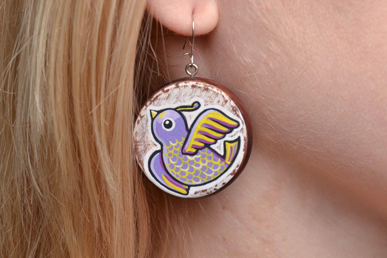 Homemade wooden earrings Birds photo 5
