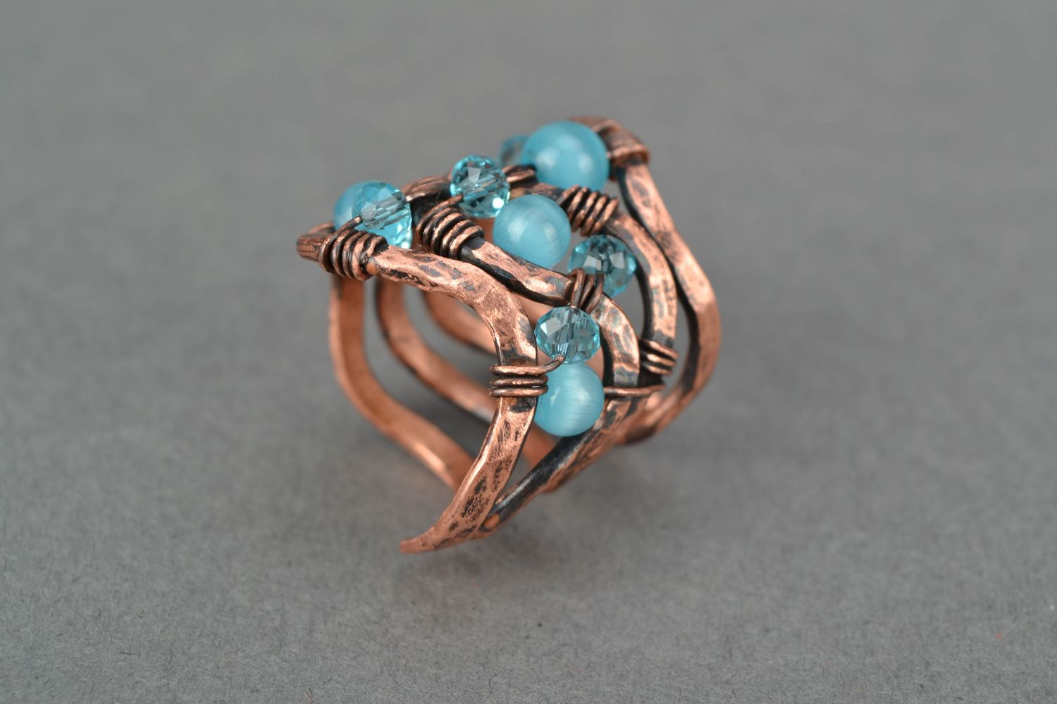 Wire wrap copper ring with cat's eye stone photo 4