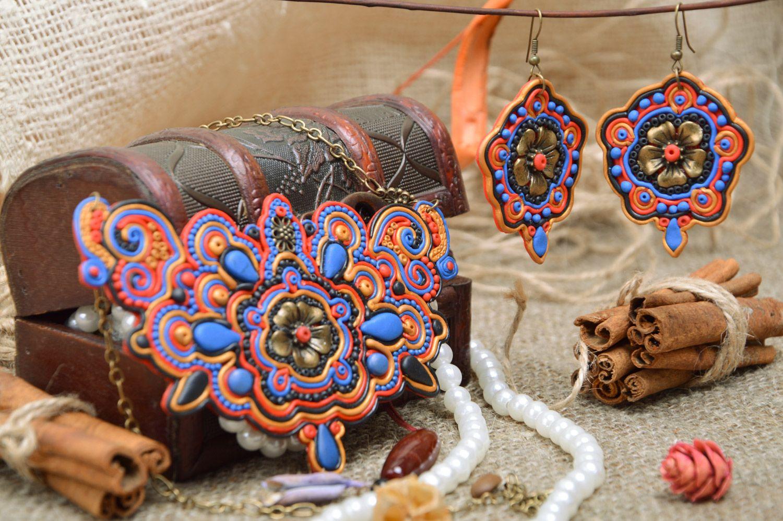 Elegantes handmade Schmuck Set aus Polymerton lange Ohrringe mit Anhängern und Collier für Damen foto 1