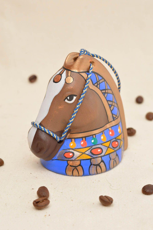 Handmade unusual ceramic bell cute souvenir in shape of horse unusual home decor photo 1