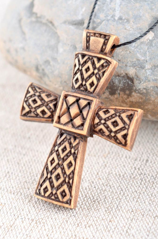 Handmade cross designer accessory unusual gift wooden jewelry wooden pendant photo 2