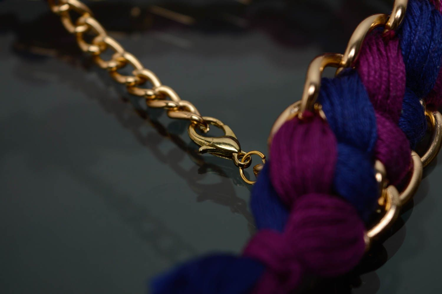 Woven moulin thread necklace with chain photo 5