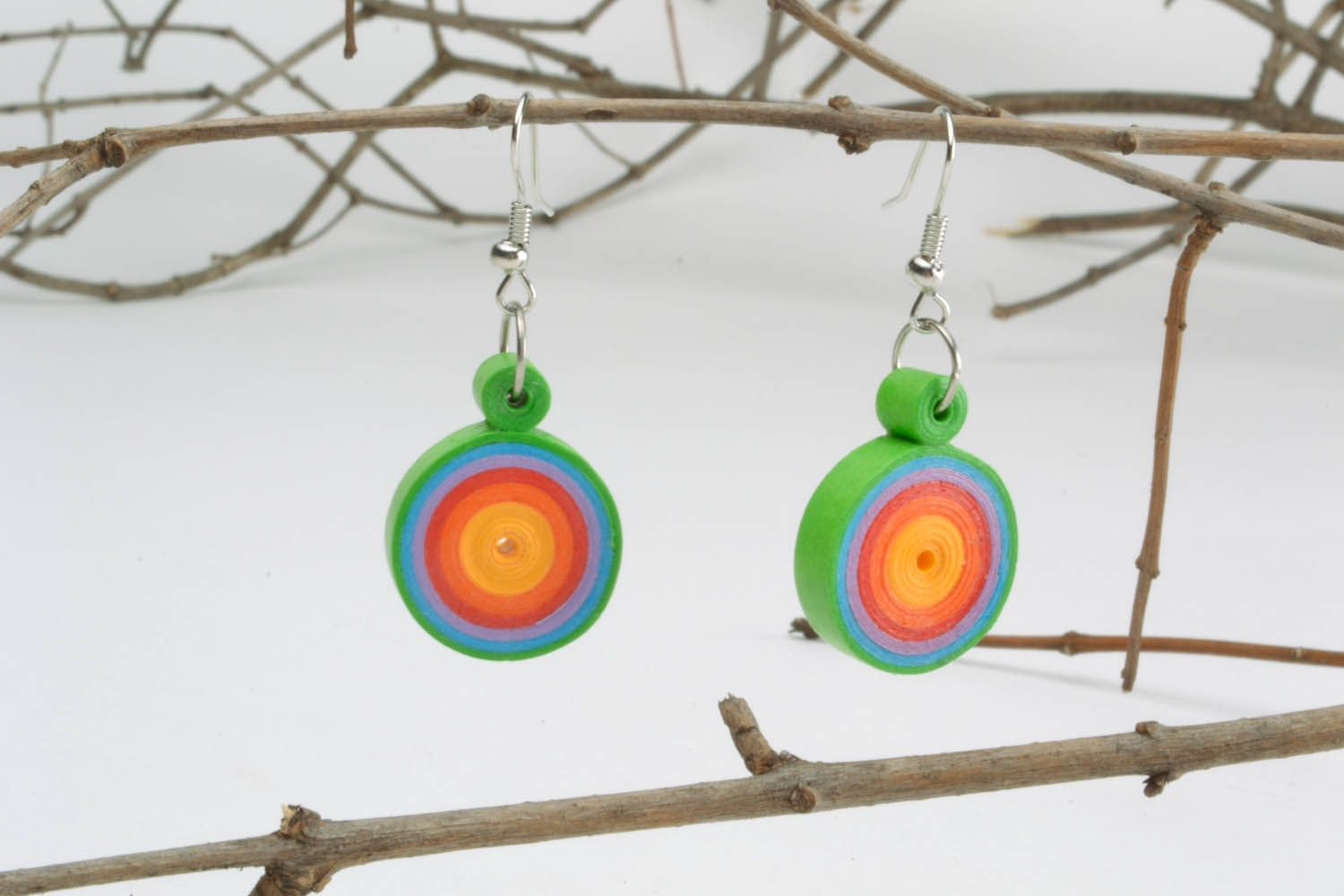 Multicolored paper quilling earrings  photo 1