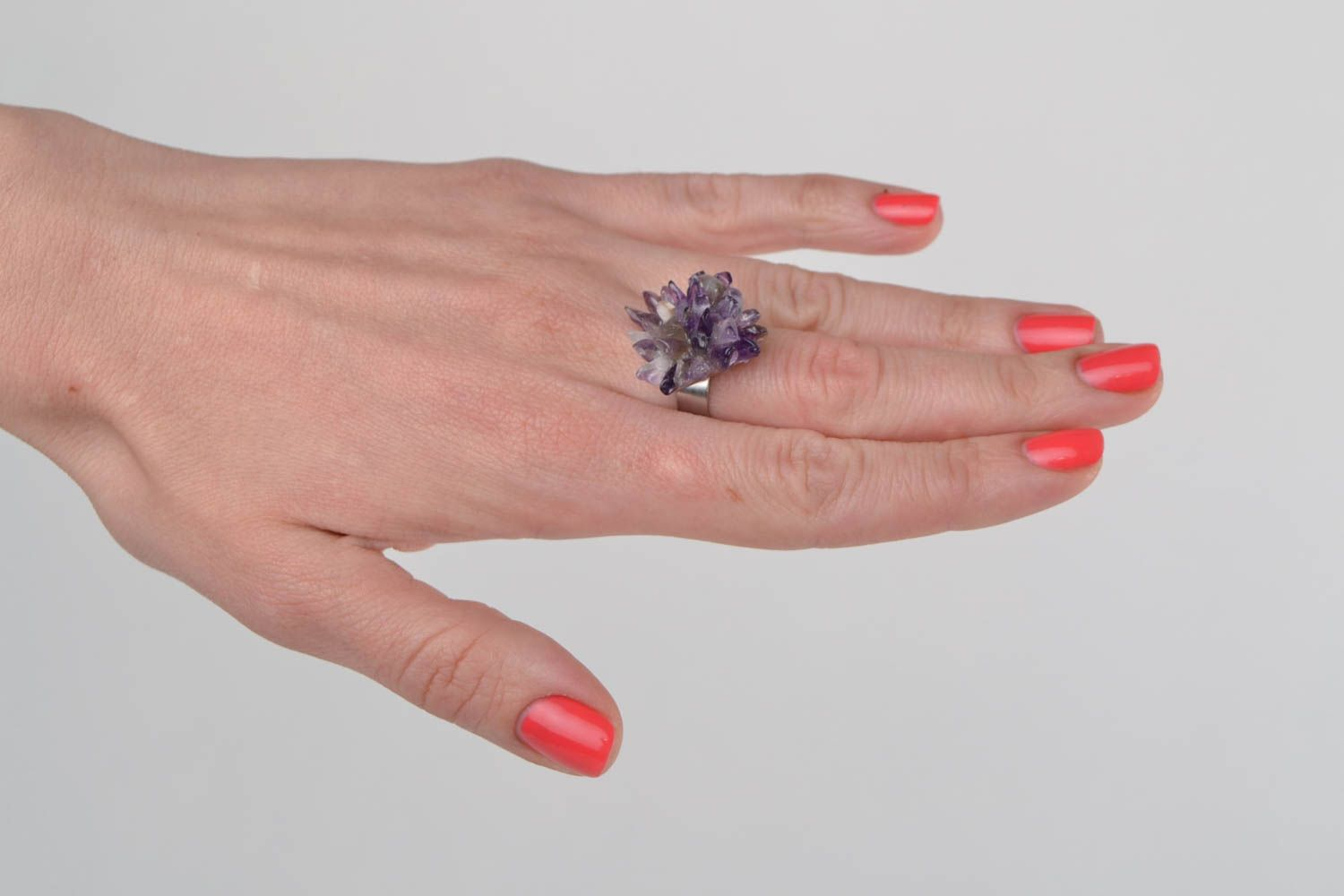 Square-shaped ring with natural stone amethyst beautiful handmade accessory photo 1