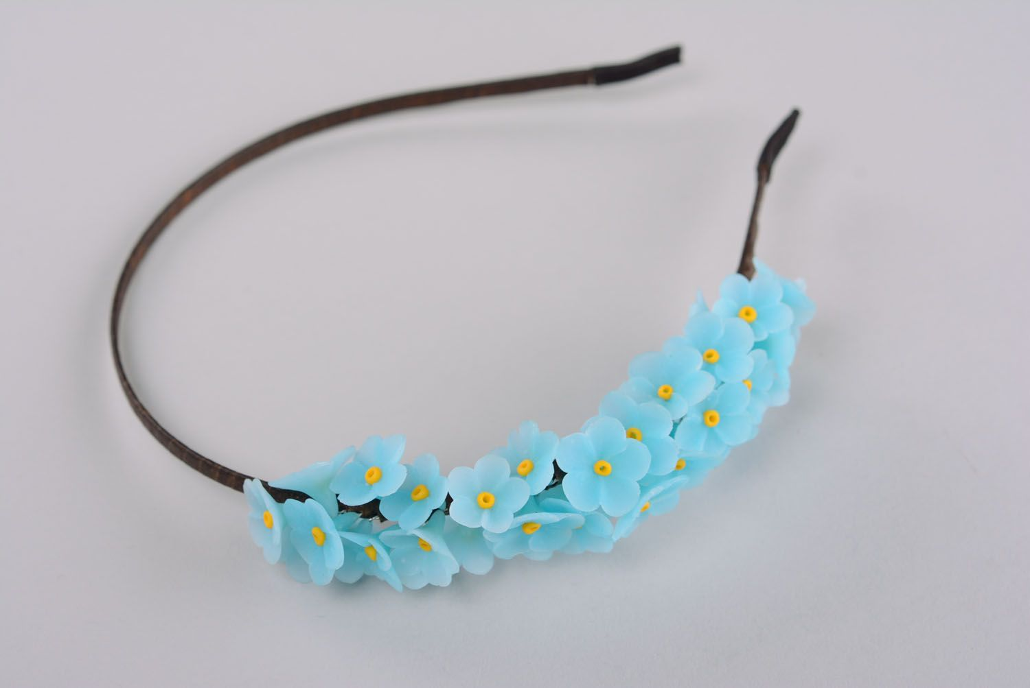 Plastic headband with forget-me-nots photo 1