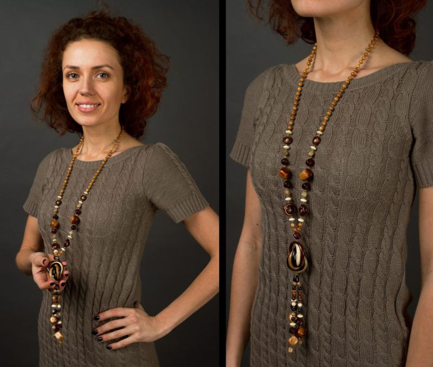 Long wooden bead necklace photo 5