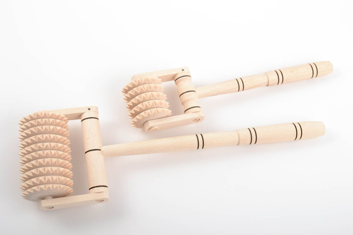 Set of handmade wooden foot and back massagers 2 pieces of different sizes photo 2