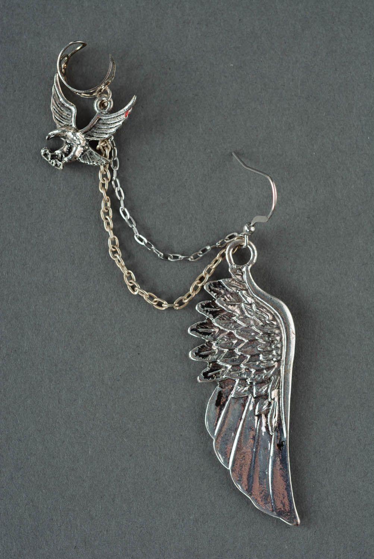 Cuff earrings made  of costume jewelery alloy Flight photo 2