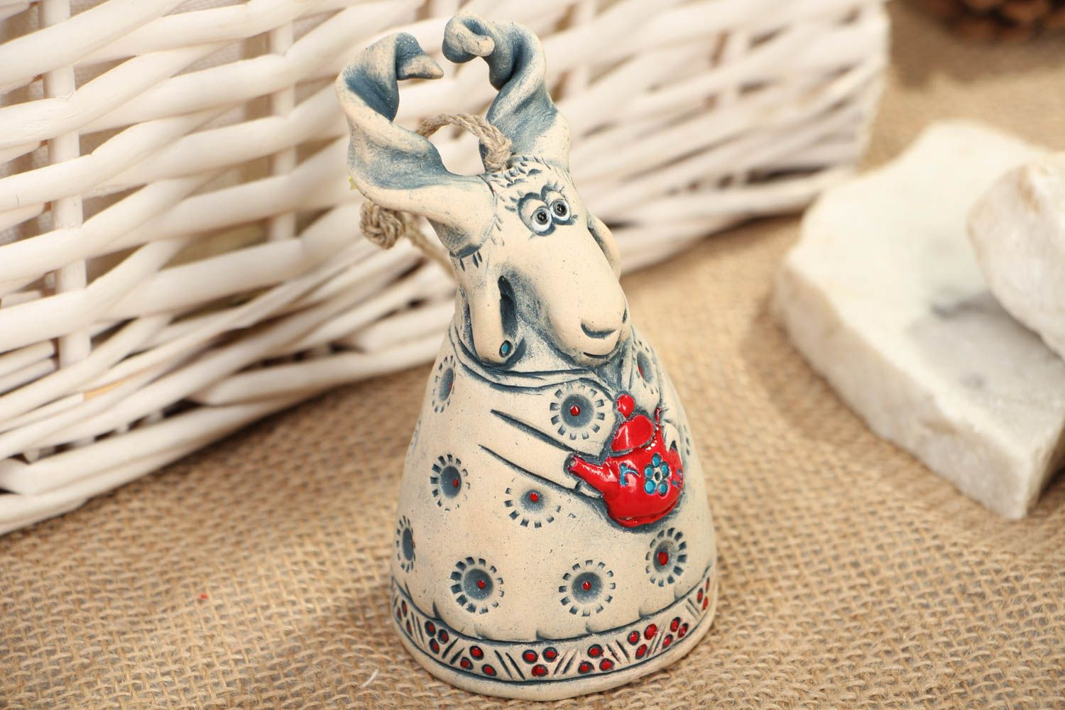 Beautiful designer ceramic bell in the shape of goat photo 5